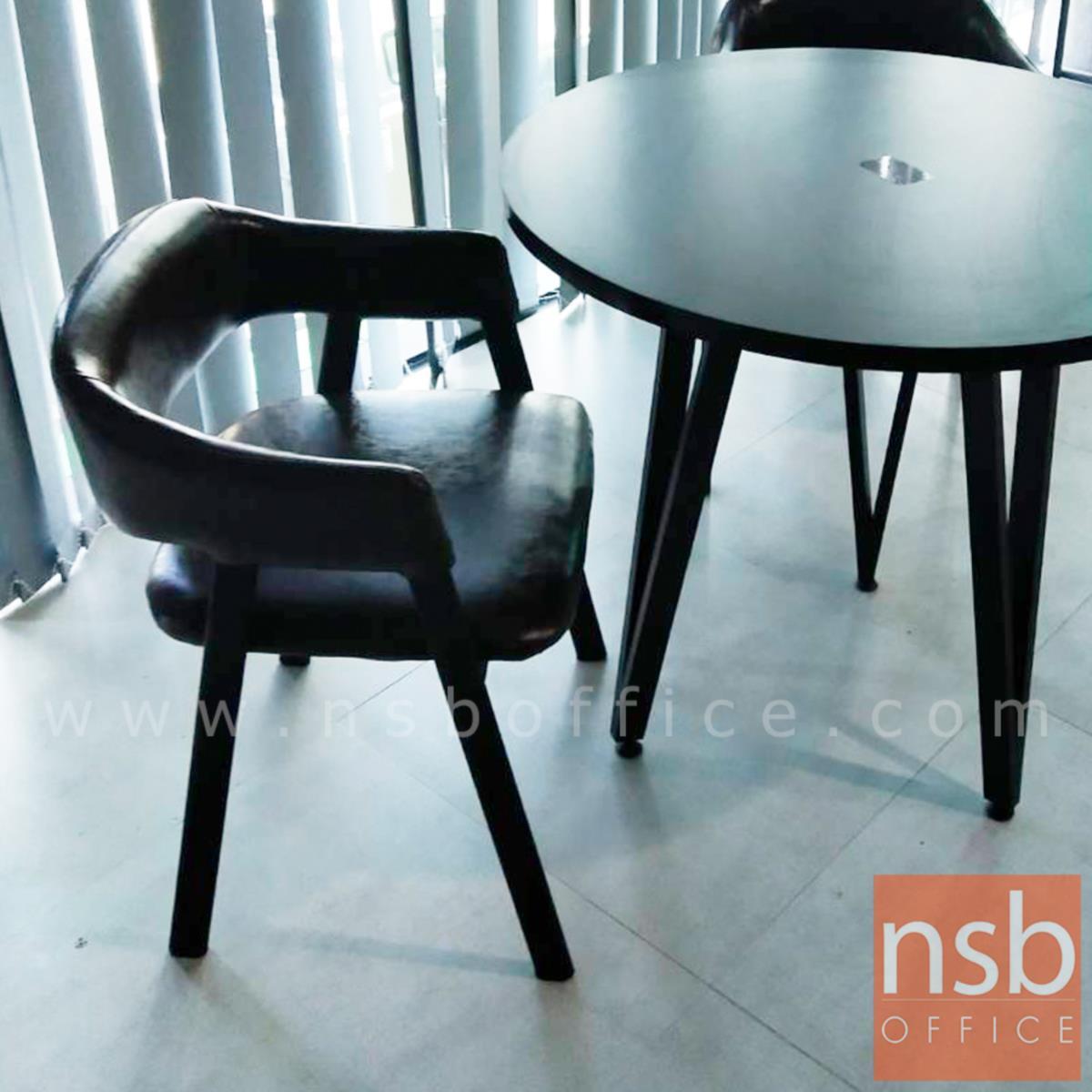 เก้าอี้โมเดิร์นหนังเทียม รุ่น Gable (เกเบิล) ขนาด 50W cm. โครงขาไม้