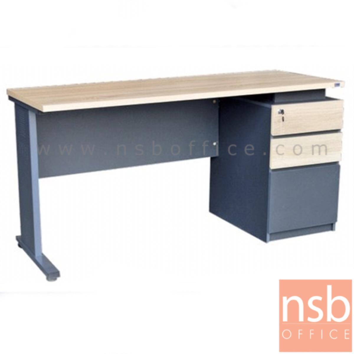 A10A068:โต๊ะทำงาน 3 ลิ้นชัก  รุ่น Cybrog (ไซบอร์ค) ขนาด 150W cm. ขาเหล็ก  สีโซลิคตัดเทาเข้มหรือสีมูจิตัดเทาเข้ม