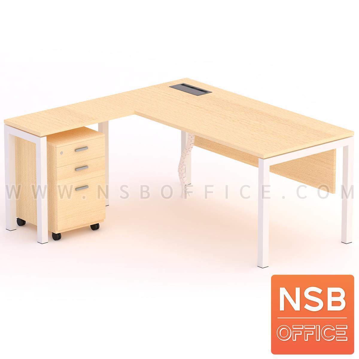 A30A036:โต๊ะผู้บริหารตัวแอล ตู้ข้างล้อเลื่อน รุ่น Max steel (แม็กซ์สตีล) ขนาด 180W cm. รางไฟใต้โต๊ะ