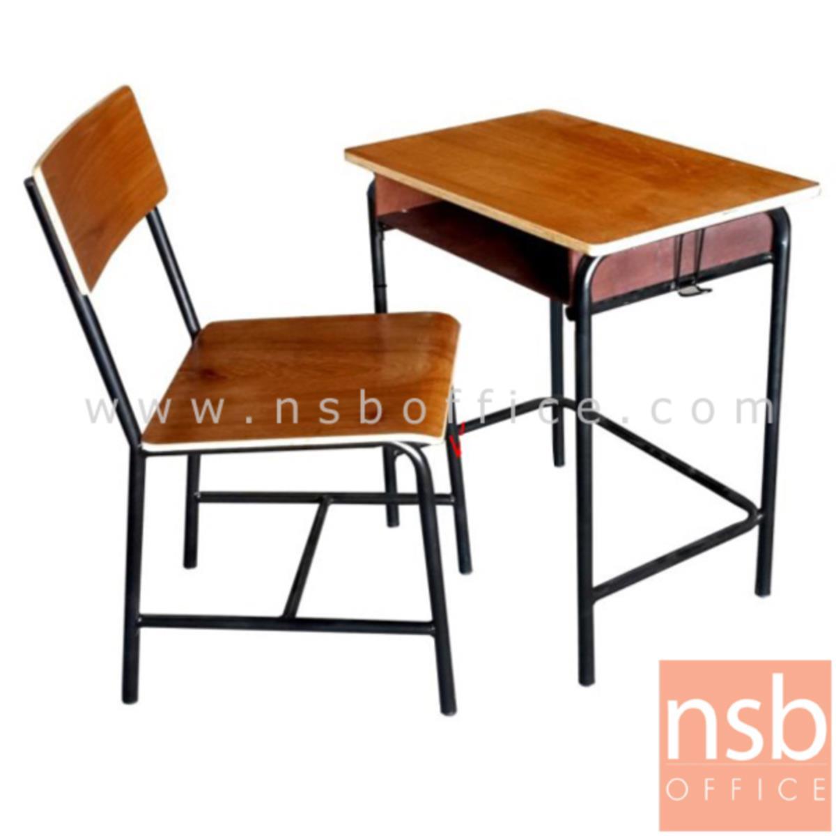 A17A030:ชุดโต๊ะและเก้าอี้นักเรียน รุ่น Ansonia (เอนโซเนีย)  ระดับประถม ขาเหล็กกลมพ่นดำ