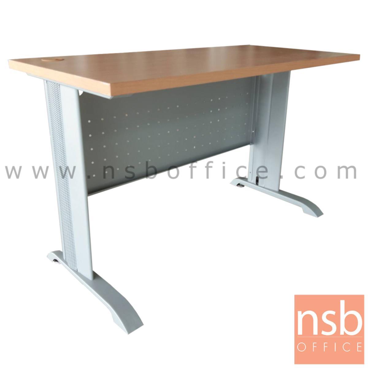 A10A082:โต๊ะโล่ง รุ่น Ultimate (อัลทิเมต) ขนาด 120W ,150W cm.  พร้อมบังโป๊เหล็ก ขาเหล็กสีเทา