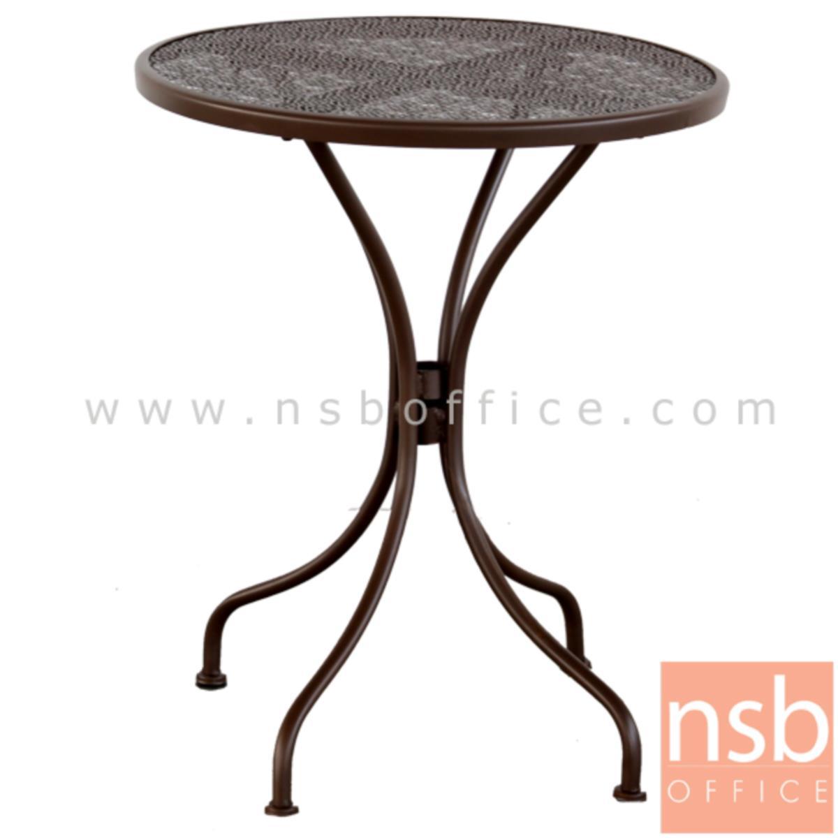 G08A246:โต๊ะสนามโครงเหล็กหน้าท็อปกลม 60Di รุ่น COTTAGE-01 ขาเหล็กพ่นสี (ไม่รวมเก้าอี้)