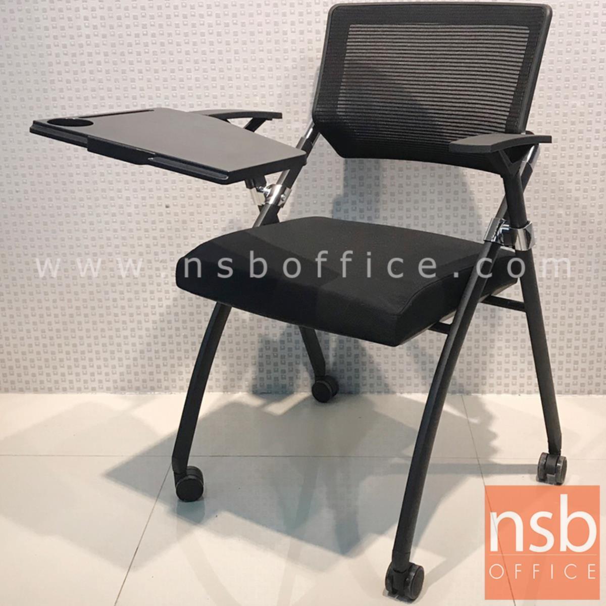 เก้าอี้เลคเชอร์หลังเน็ตล้อเลื่อน รุ่น Minogue (มิโนก)  ขาเหล็กพ่นสีดำ