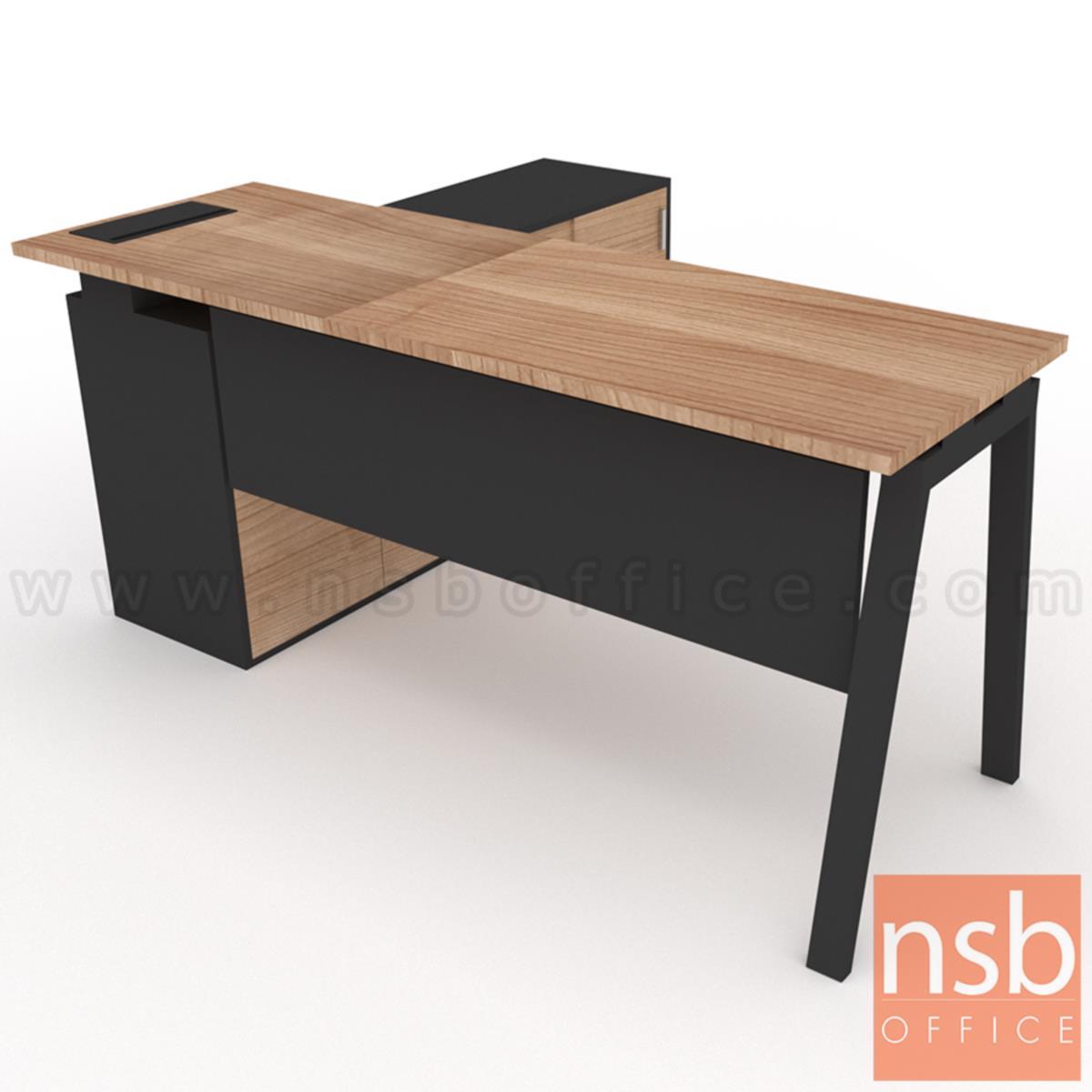 โต๊ะผู้บริหารตัวแอล  รุ่น Slash-6 (สแลช-6) ขนาด 160W, 180W cm.  พร้อมตู้ข้างและรางไฟรุ่น A24A034-1 ขาเหล็ก