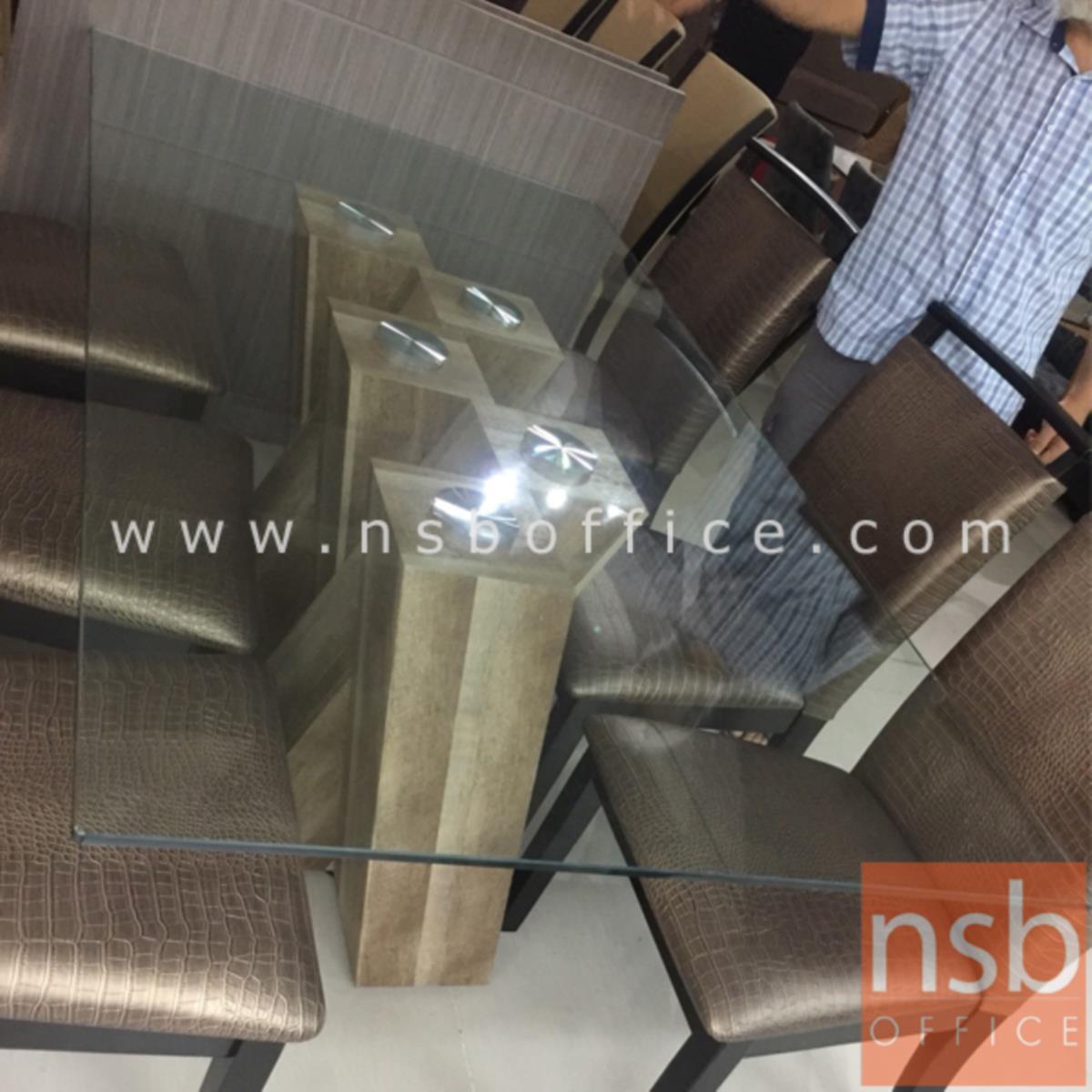 โต๊ะประชุมเหลี่ยมหน้ากระจก รุ่น Webbe (เว็บบ์) ขนาด 180W cm.  ขากล่องไม้ MDF