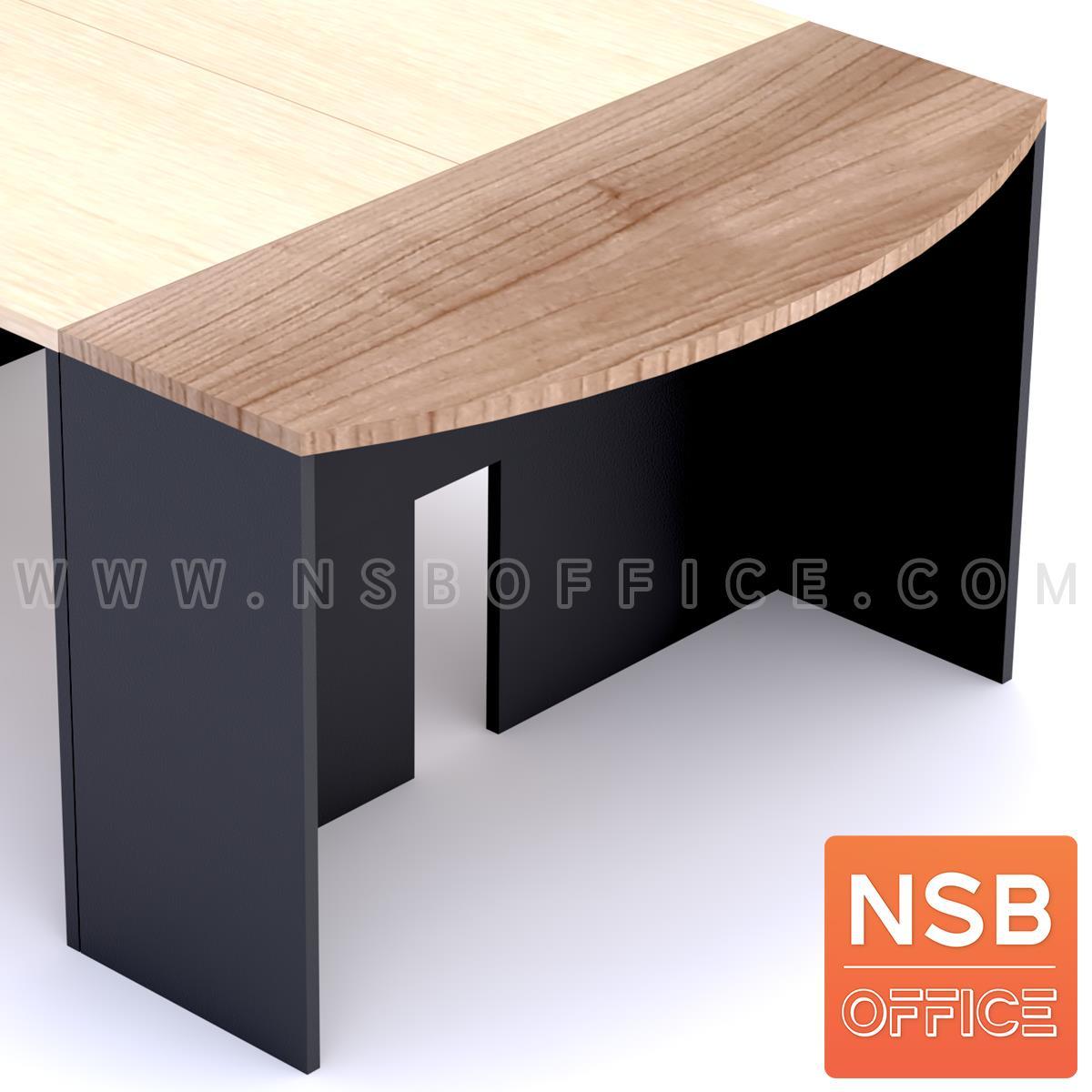 A05A141:โต๊ะเข้ามุมทรงหัวเหลี่ยมโค้ง  ขนาด 120W ,150W cm. เมลามีน