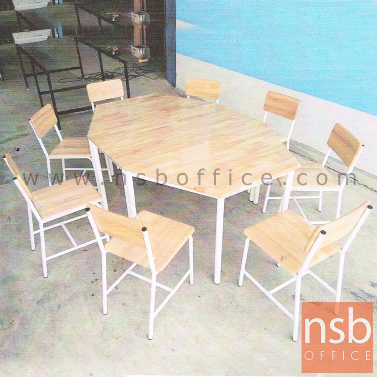 โต๊ะกิจกรรมเด็ก รุ่น LEARNIG แปดเหลี่ยม (ประกอบด้วยโต๊ะสี่เหลี่ยมและคางหมู) โครงขาสีขาว
