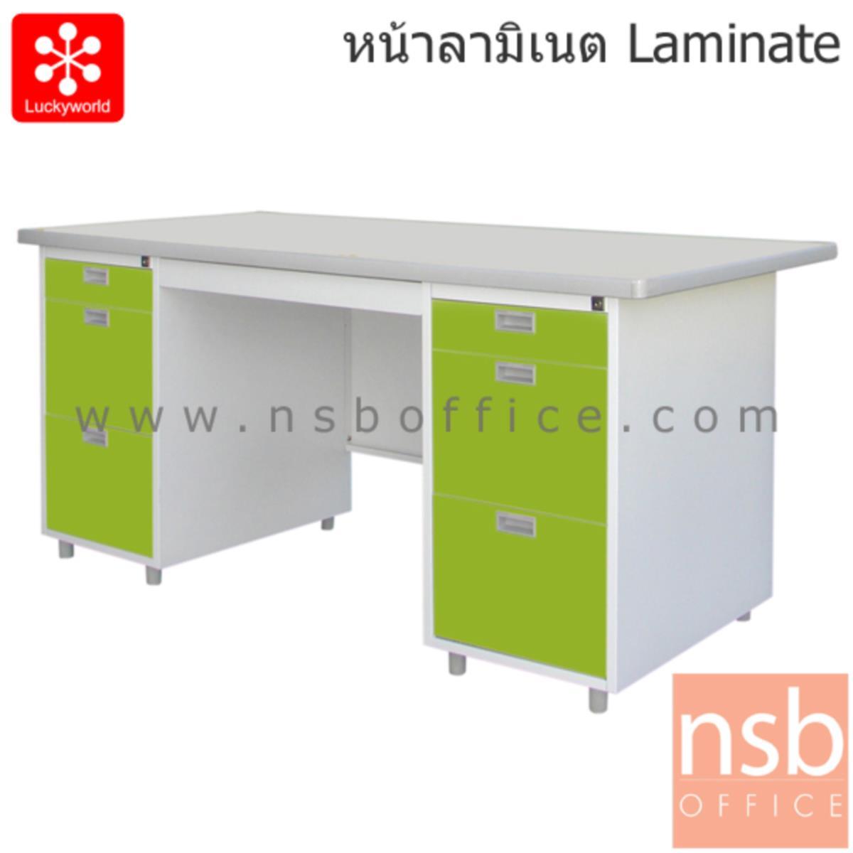 โต๊ะทำงานเหล็ก 7 ลิ้นชัก รุ่น DL-52-33 159.5W cm. หน้าลามิเนท