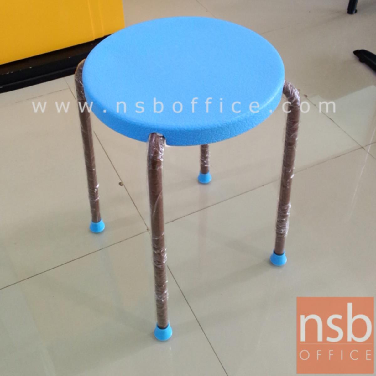 เก้าอี้สตูลกลมที่นั่งพลาสติก  38Di*46H cm. ขาเหล็ก