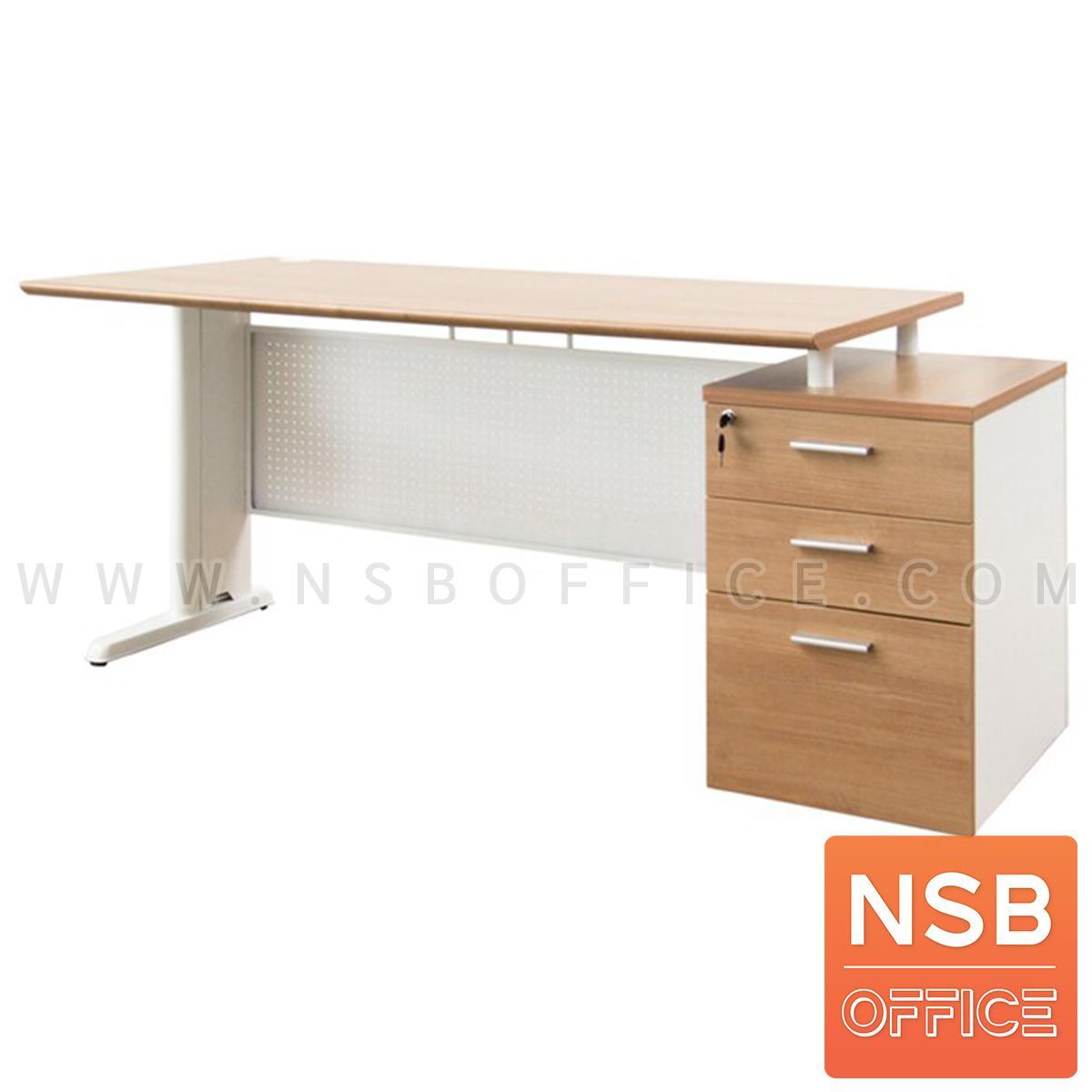 A13A219:โต๊ะทำงาน 3 ลิ้นชักไม้ MDF ปิดผิวลามิเนท รุ่น Jin (จิน)  ขาอลูมิเนียม
