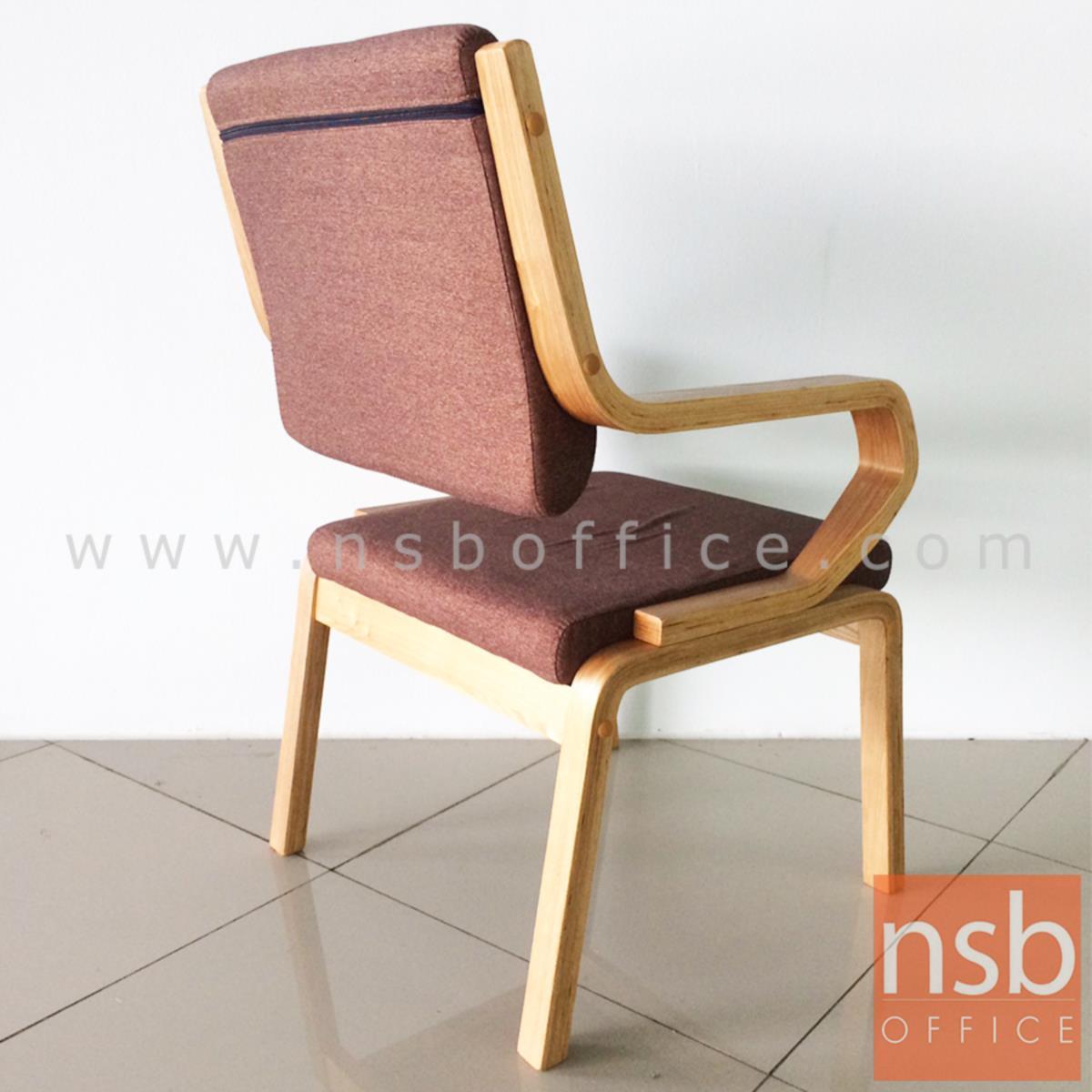 เก้าอี้ไม้จริงใหญ่ ที่นั่งหุ้มผ้า รุ่น Rinatia (รินาเทีย)  ขาไม้