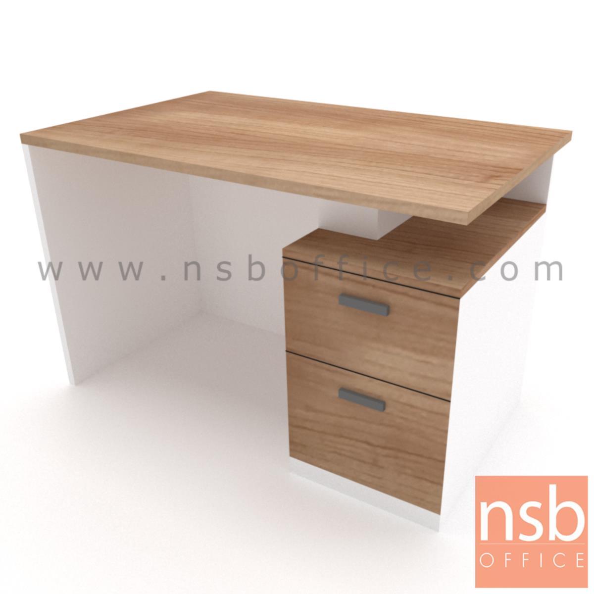 โต๊ะทำงาน 2 ลิ้นชัก  รุ่น Plumcot (พลัมคอต) ขนาด 150W cm. พร้อมบังตาไม้ปิดเต็มแผ่น เมลามีน