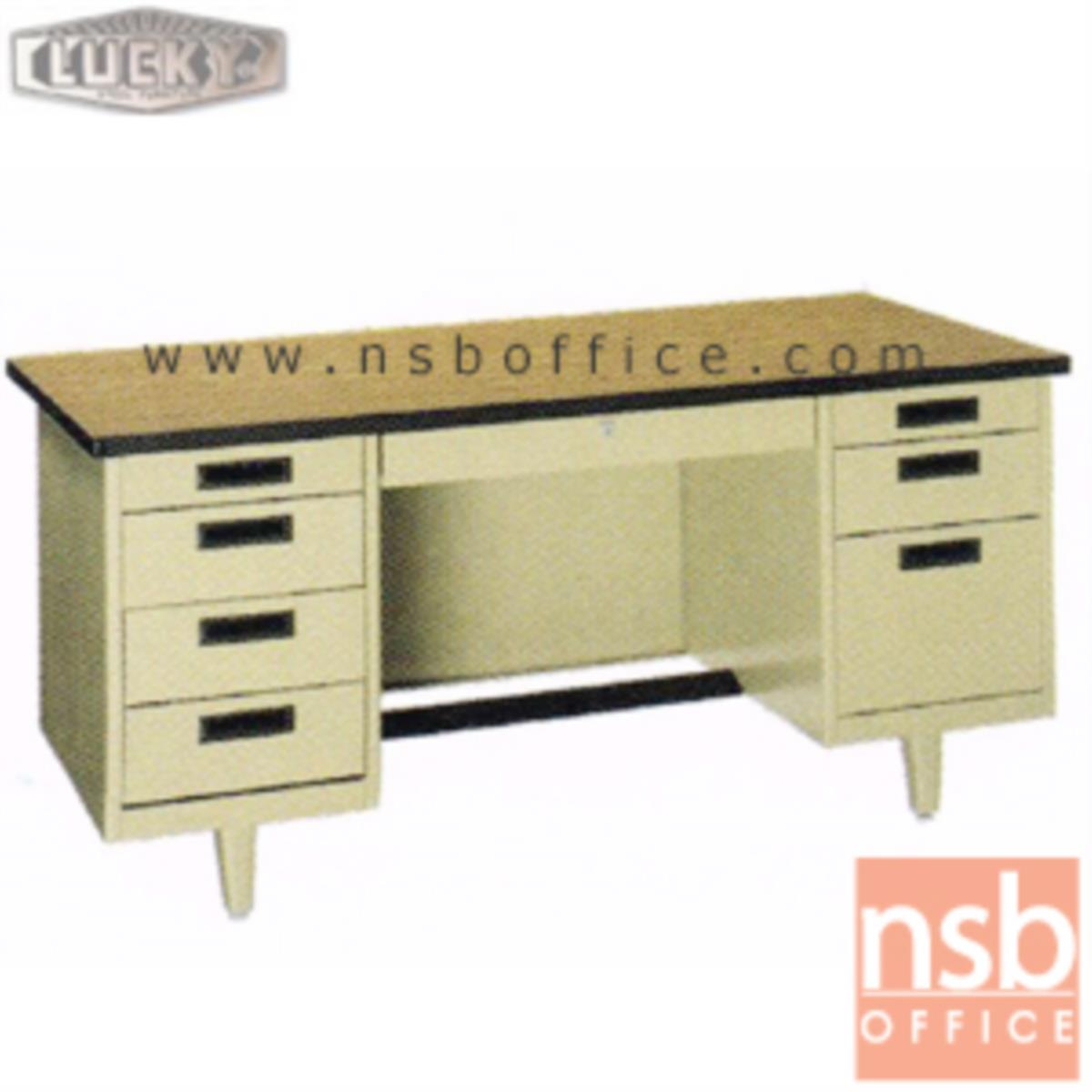E28A101:โต๊ะทำงานเหล็กหน้าโฟเมก้าลายไม้ 8 ลิ้นชักรุ่นพิเศษ ยี่ห้อ Lucky  รุ่น NT-2654,NT-3060,NT-3472