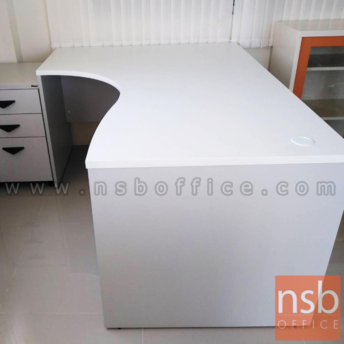 โต๊ะทำงานตัวแอลหน้าโค้งเว้า   รุ่น Simpson (ซิมป์สัน) ขนาด 150W1 ,165W1 ,180W1*120W2 cm.  เมลามีน