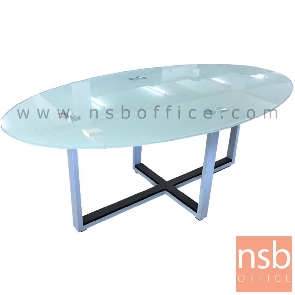 L10A163:โต๊ะกลางกระจกวงรี  ขนาด 120Di*45H cm. ขาเหล็กพ่นสี
