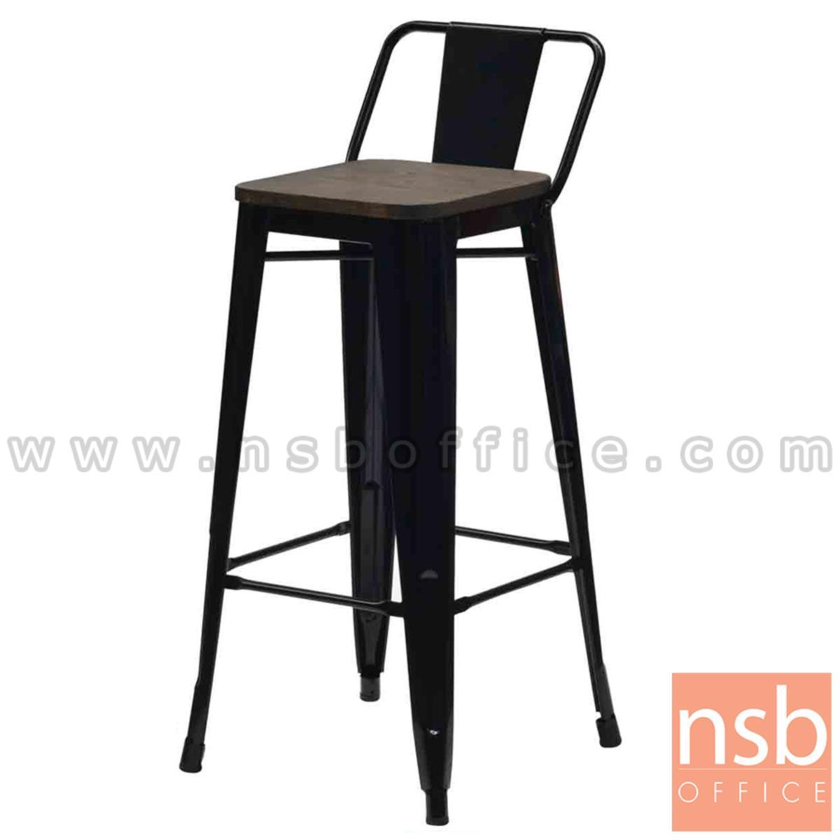 B18A089:เก้าอี้บาร์สูงเหล็กที่นั่งไม้ รุ่น Acadia (อคาเดีย) ขนาด 43.5W cm. โครงเหล็กพ่นสี