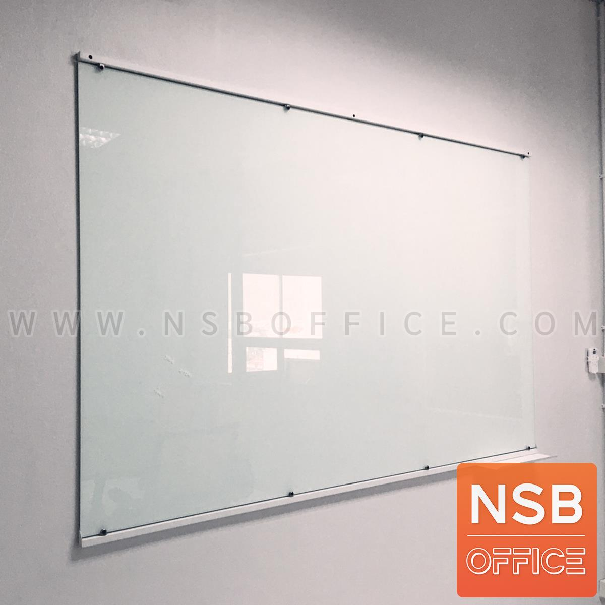 G01A038:ไวท์บอร์ดกระจกนิรภัยพ่นสีขาว   150W, 180W, 200W, 220W cm (กระจกไม่ต้องเจาะรู ติดตั้งด้วยคิ้วเหล็กทำสี)