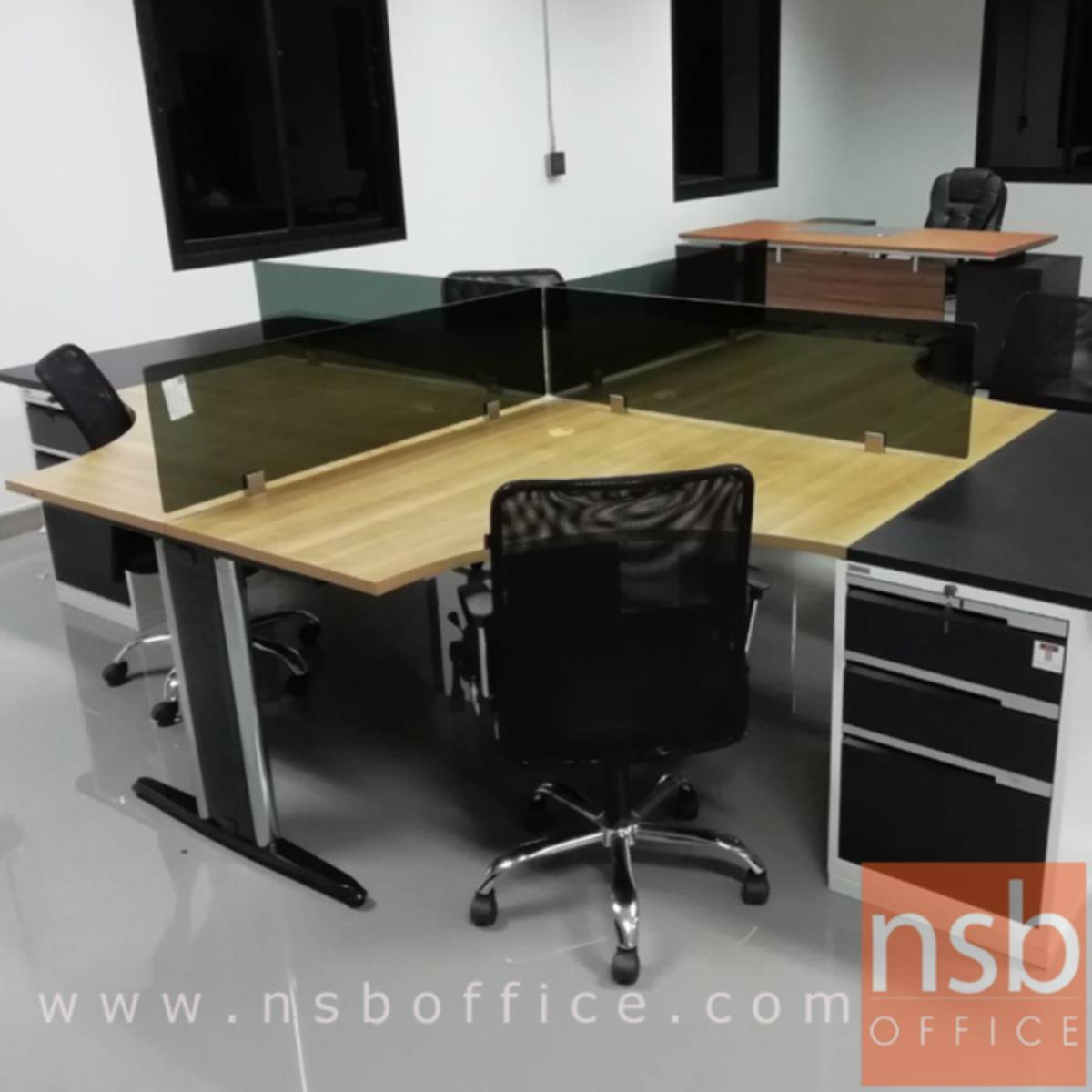 ชุดโต๊ะทำงานกลุ่ม 4 ที่นั่ง  รุ่น TY-WS034G ขนาด 360W cm. พร้อมมินิสกรีนกระจกและตู้ 3 ลิ้นชักเหล็ก