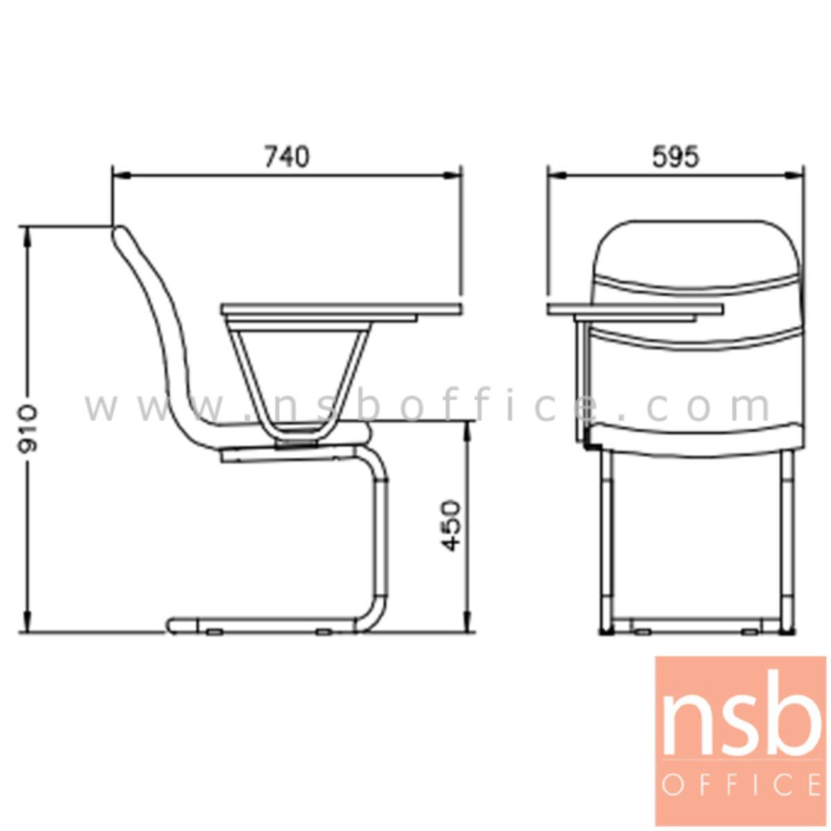 เก้าอี้เลคเชอร์หุ้มหนังเทียม (PVC)หรือหุ้มผ้า รุ่น TY-AC232LE ขาตัวซีเหล็กชุบโครเมี่ยม