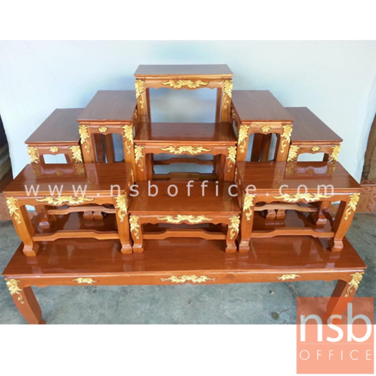 G18A006:โต๊ะหมู่บูชาไม้สักแกะลายปิดทอง รุ่น NT04 หมู่9 หน้ากว้าง 9 นิ้ว