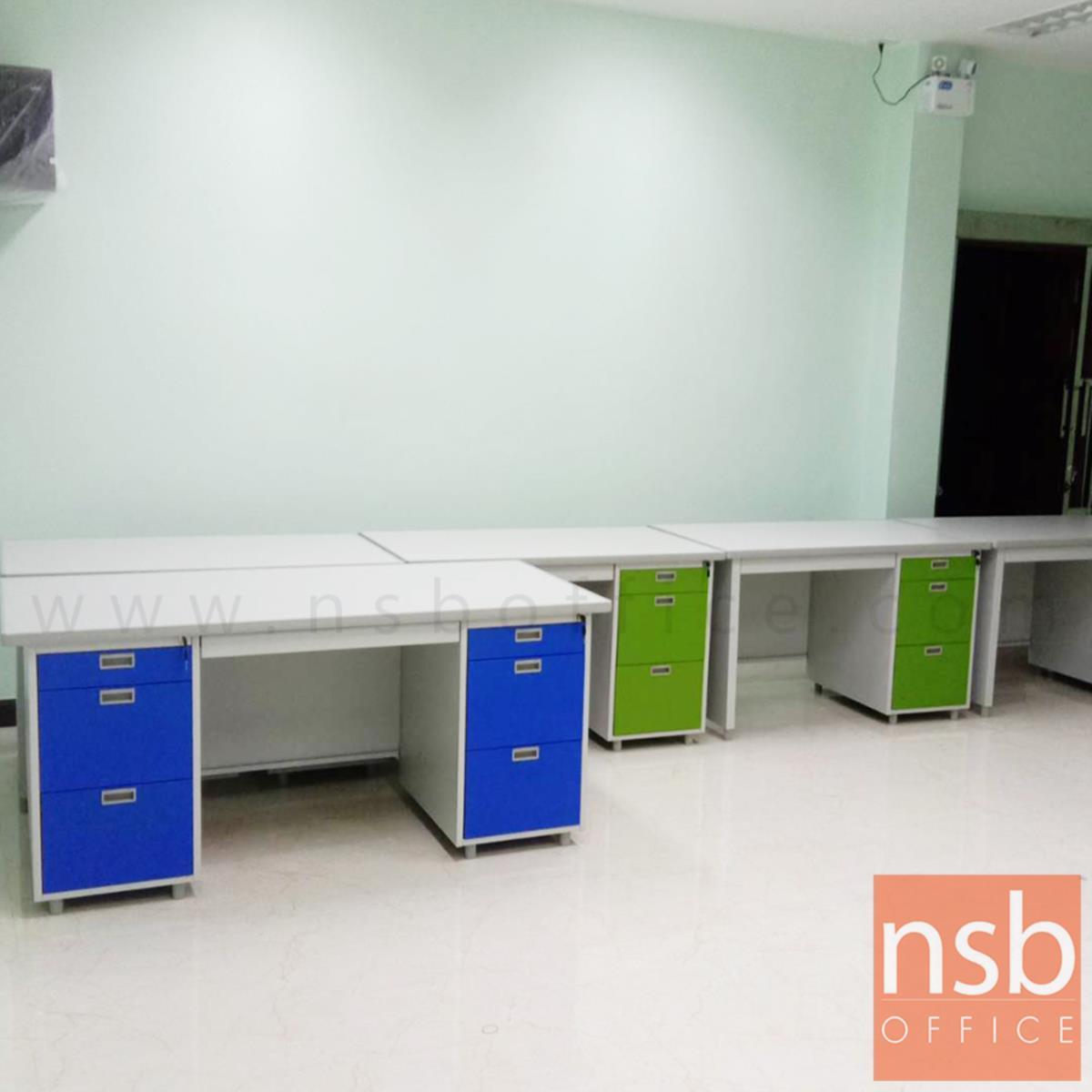 โต๊ะทำงานเหล็ก 7 ลิ้นชัก รุ่น DX-52-33 ขนาด 159.5W cm. พ่นสีอีพ๊อกซี่พิเศษ(EPOXY)