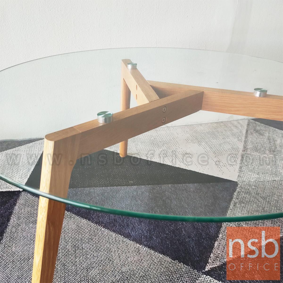 โต๊ะกลางกระจกกลม  รุ่น Kane (เคน) ขนาด 90Di cm. ขาไม้