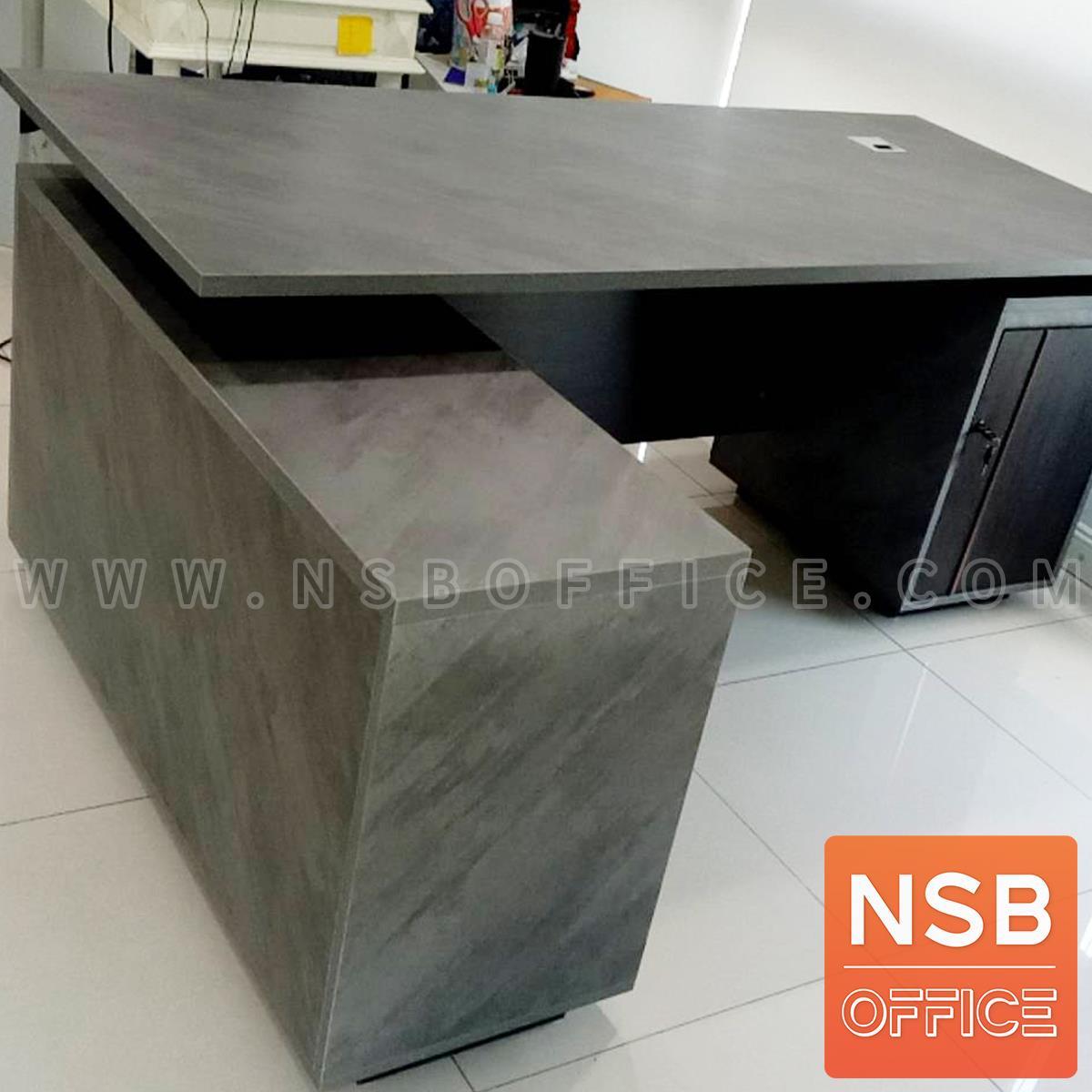 โต๊ะทำงานตัวแอล รุ่น Vicky (วิกกี้) ขนาด 180 cm. 2 ลิ้นชัก ตู้ข้างบานเปิดแบบ Soft Close