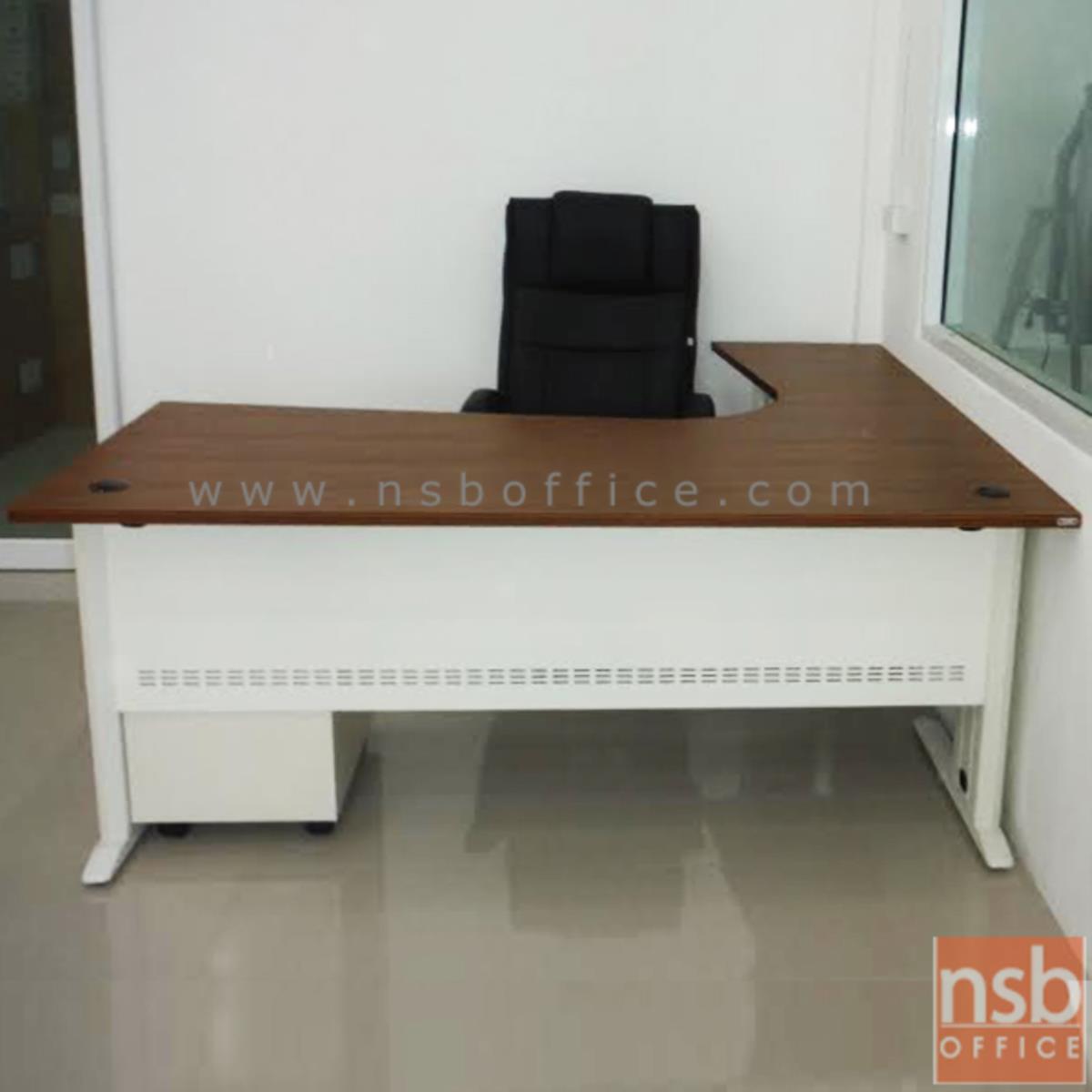 A34A008:โต๊ะทำงานตัวแอล รุ่น Bellerose (เบลล์โรส)  ขาเหล็กพ่นขาว สีซีบราโน่-ขาว