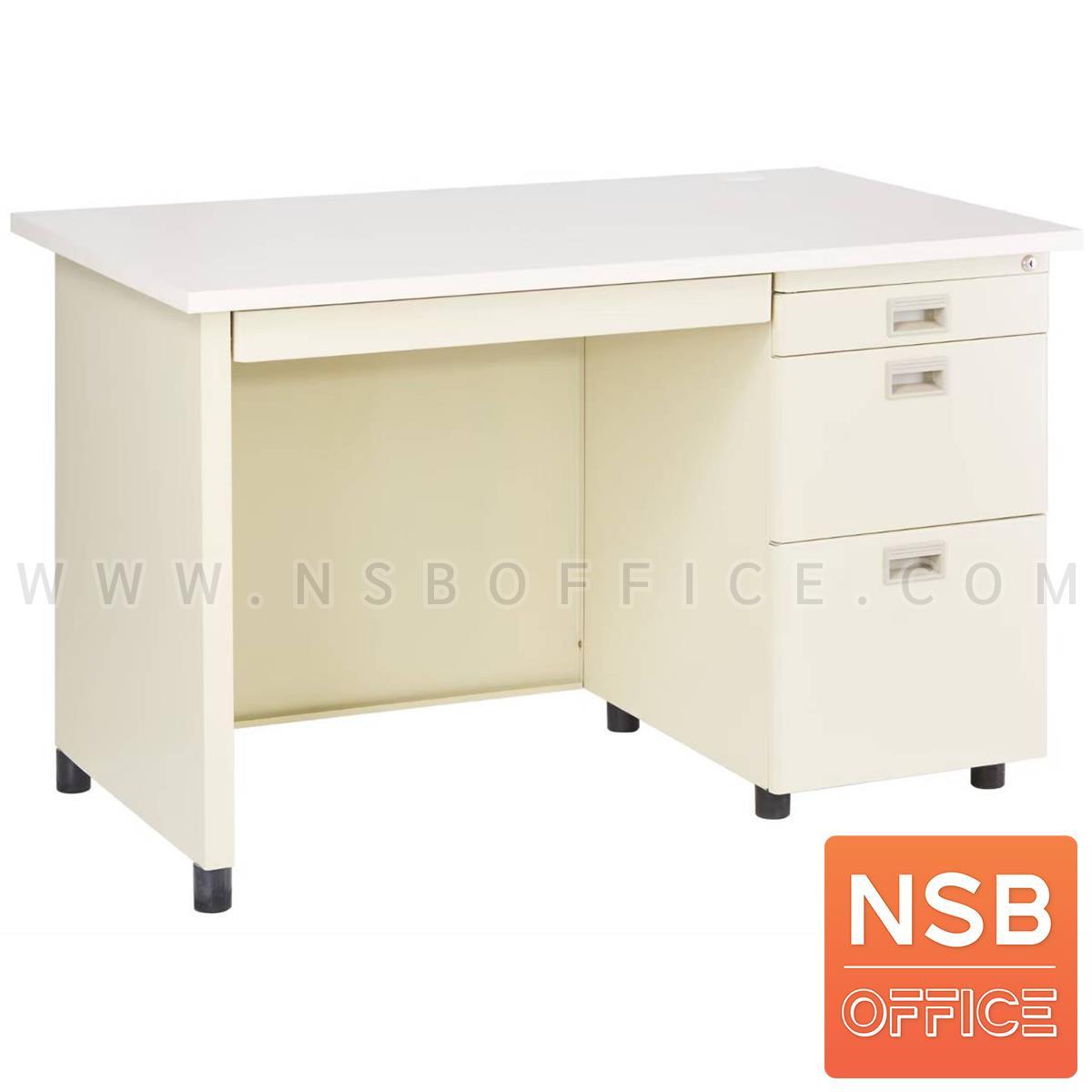 E06A017:โต๊ะทำงานเหล็กหน้าไม้ผิวพีวีซี 4 ลิ้นชัก  รุ่น DNP127 ขนาด 120W*70D cm.  เหล็กหนาพิเศษ 0.6 มม.