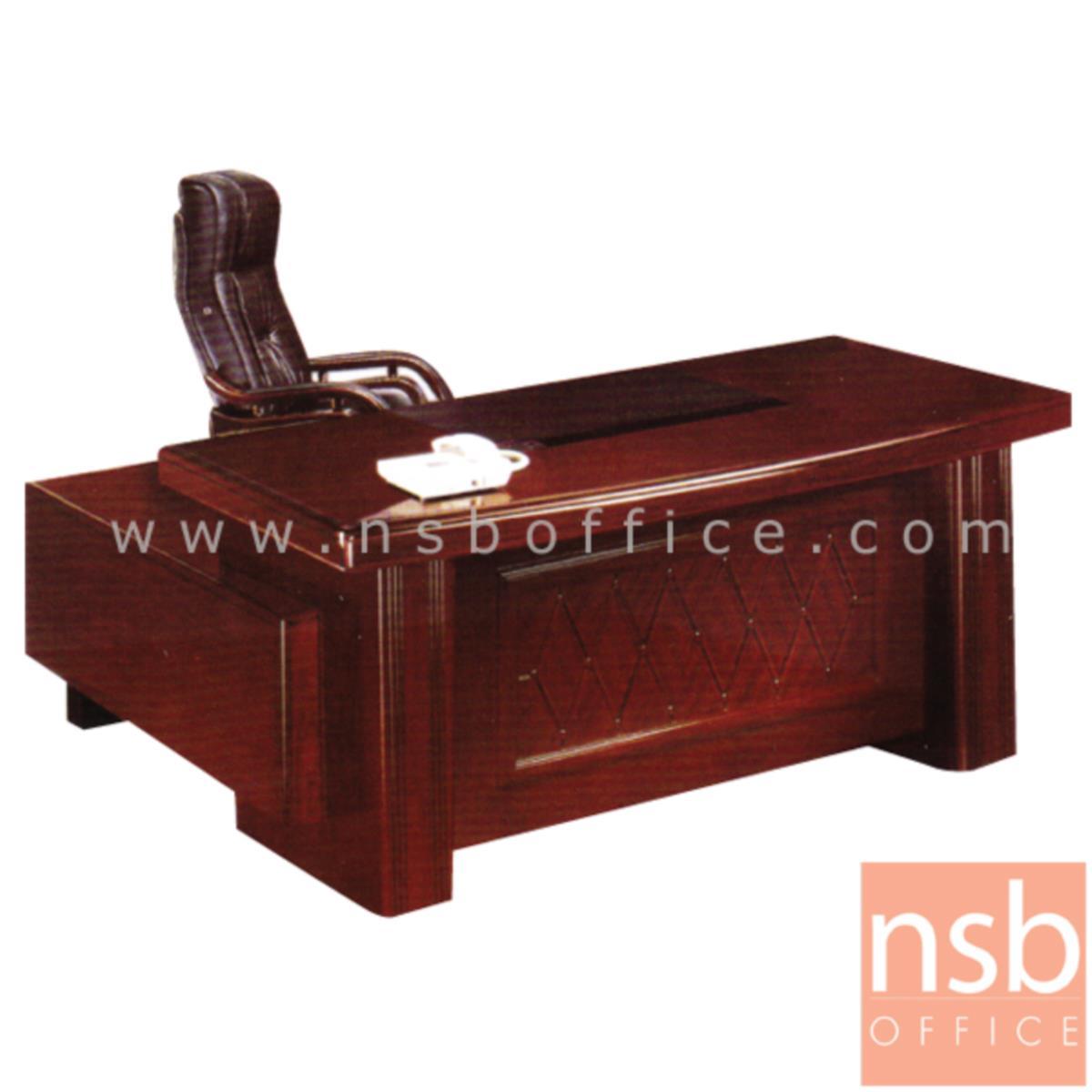 A06A022:โต๊ะผู้บริหารตัวแอล รุ่น Leslie (เลสลี) ขนาด 160W cm. พร้อมตู้ลิ้นชักและตู้ข้าง