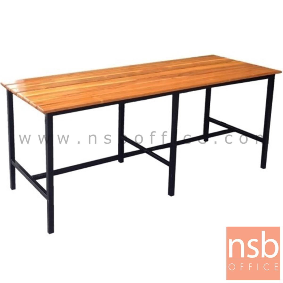 A17A086:โต๊ะโรงอาหารไม้สักตีระแนง รุ่น UTAH (ยูทาร์) ขนาด 180W cm. ขาเหล็ก