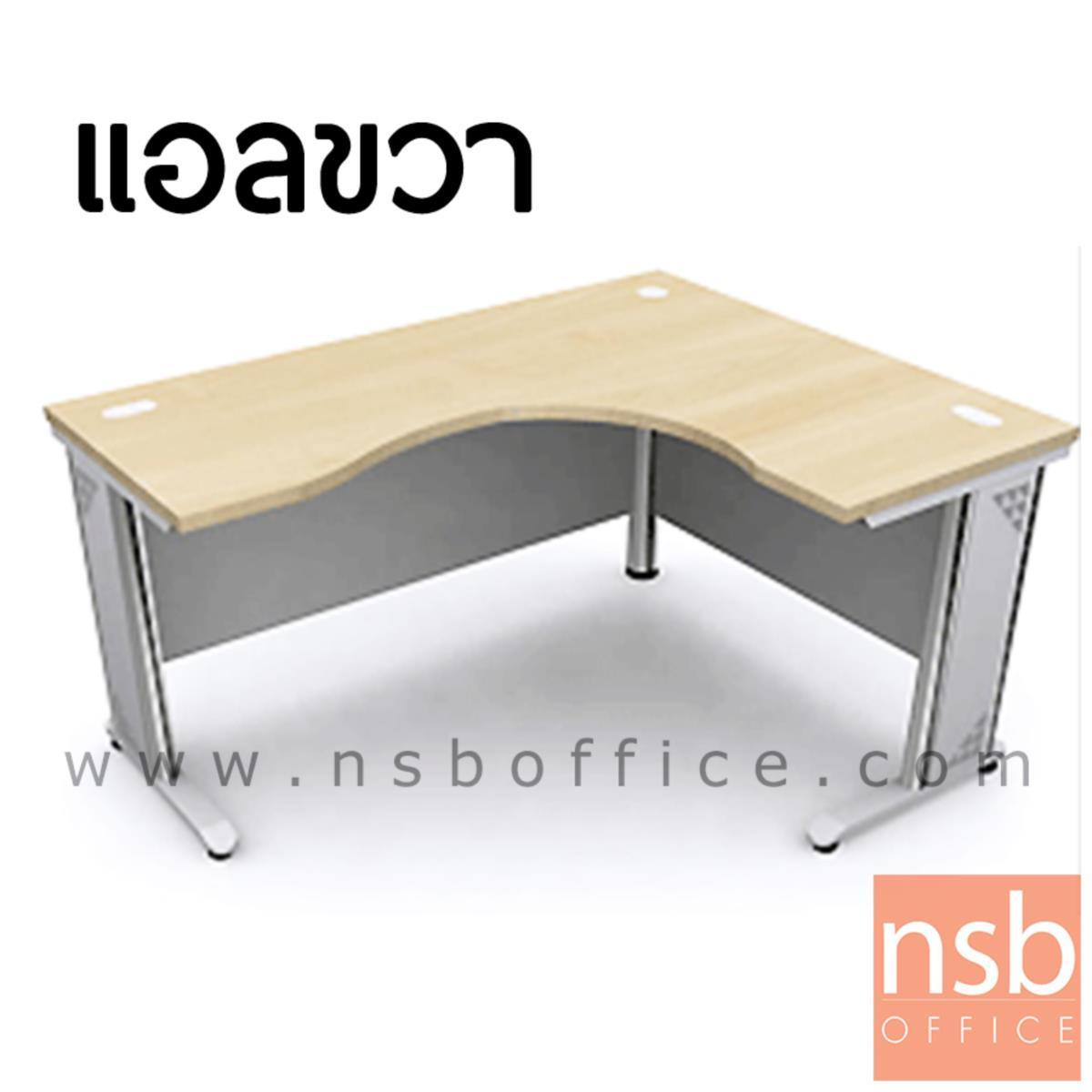 โต๊ะทำงานตัวแอลหน้าโค้งเว้า รุ่น Camilo (คามิโล) ขนาด 150W1 ,165W1 ,180W1*120W2 cm.  ขาเหล็ก