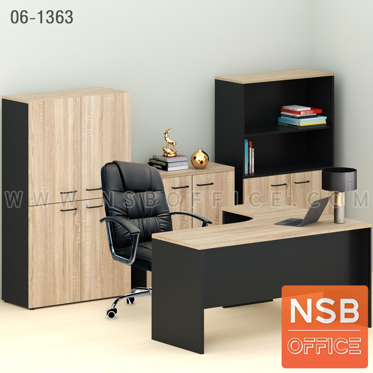 SETA002:เซ็ตโต๊ะทำงานตัวแอล สีโซโนม่า รุ่น Zono (โซโน่)  พร้อมตู้เก็บเอกสาร เก้าอี้สำนักงาน (รวม 5 ชิ้น)