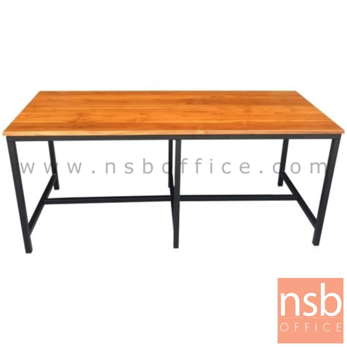 A17A073:โต๊ะโรงอาหารหน้าไม้สักแผ่นเดียว รุ่น NEW MEXICO (นิวแม็กซิโก) ขนาด 180W cm. ขาเหล็กเหลี่ยม