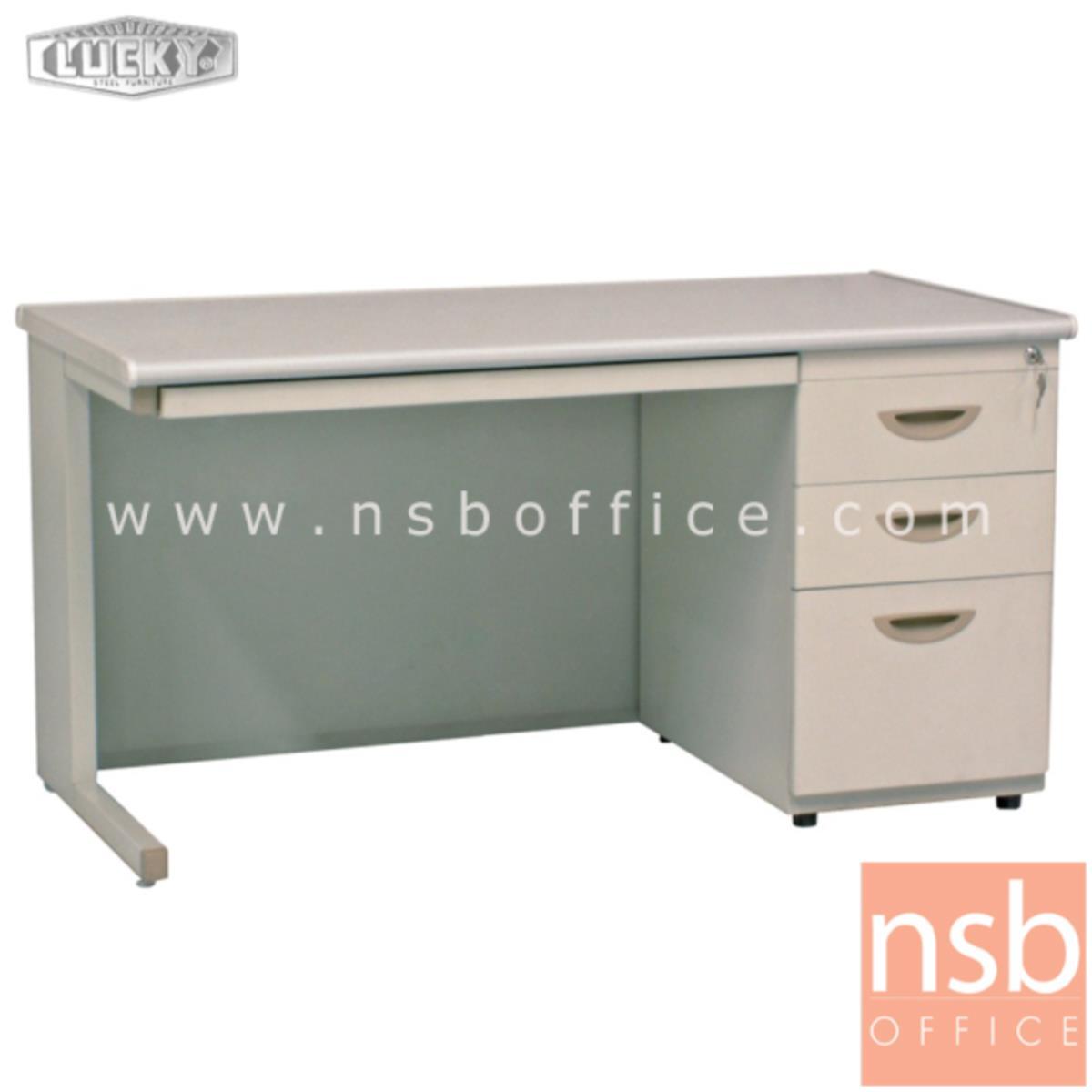 E28A114:โต๊ะทำงานเหล็กพร้อมรางคีย์บอร์ด 3 ลิ้นชักข้าง ยี่ห้อ Lucky  รุ่น DP3-70100,DP3-70120