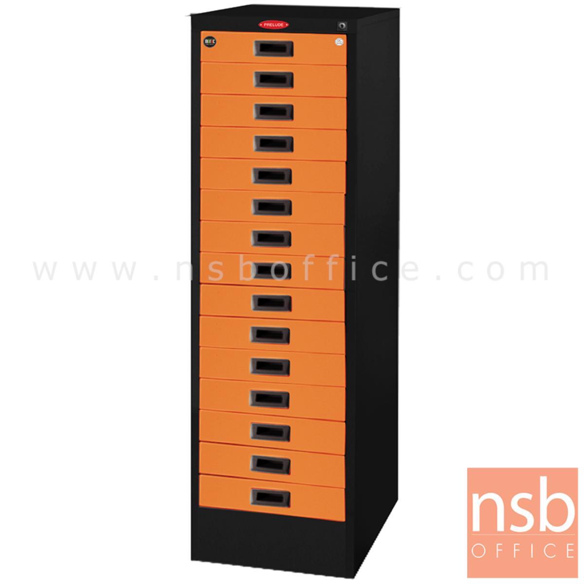 E04A047:ตู้เหล็กเก็บแบบฟอร์ม 15 ลิ้นชัก รุ่น Nesta (เนสต้า) หน้าบานสีสันโครงตู้สีดำ
