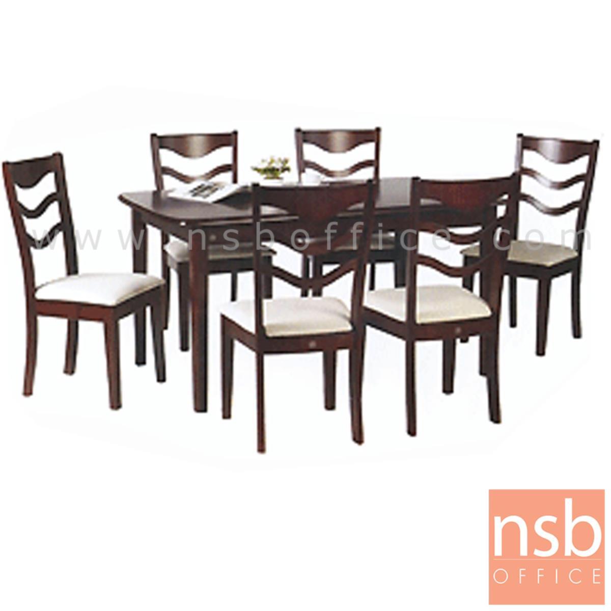 G14A030:ชุดโต๊ะรับประทานอาหารหน้าโฟเมก้าลายไม้ 6 ที่นั่ง รุ่น SUNNY-19 ขนาด 150W cm. พร้อมเก้าอี้