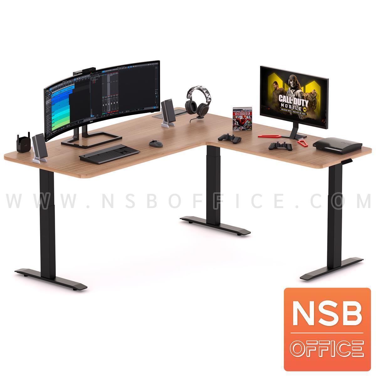 โต๊ะทำงานปรับระดับ Sit 2 Stand ทรงตัวแอล รุ่น Carmelo (คาร์เมโล่) ขนาด 160W, 180W cm.  พร้อมป็อปอัพรุ่น A24A057