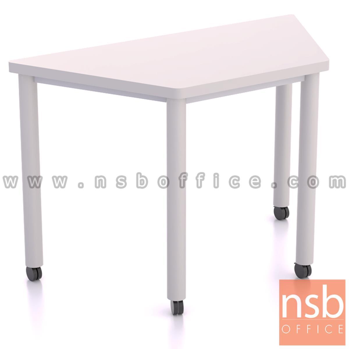 B30A062:โต๊ะทำงานทรงคางหมูล้อเลื่อน รุ่น Malfoy (มัลฟอย) ขนาด  120W cm. โครงขาสีขาว