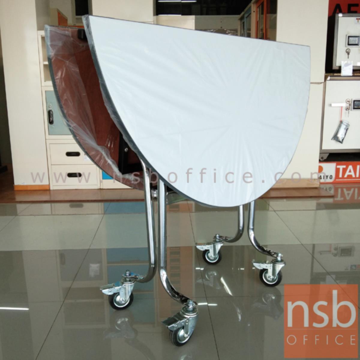โต๊ะพับหน้าโฟเมก้าขาวล้อเลื่อน 25 มม. รุ่น Blakely (เบล็กลี่) ขนาด 4 ,5 ,6 ฟุต ขอบอลูมิเนียม ขาเหล็กชุบโครเมี่ยม