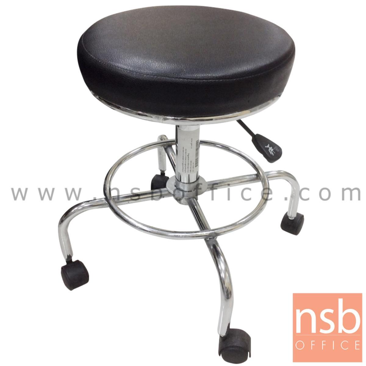 B09A103:เก้าอี้บาร์สตูลที่นั่งกลมล้อเลื่อน รุ่น Zola (โซล่า)  โช๊คแก๊ส ขาเหล็กชุบโครเมี่ยม