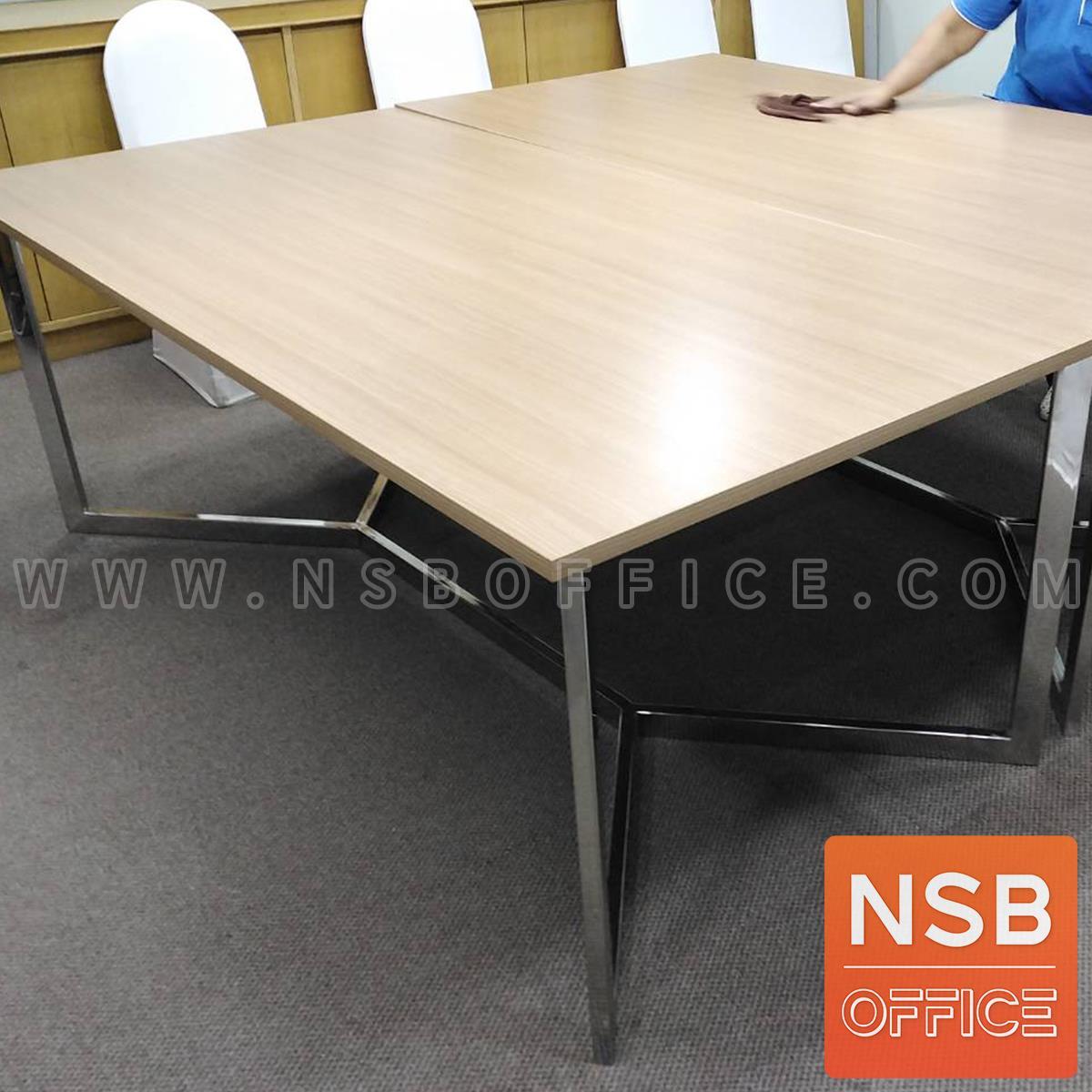 โต๊ะประชุมทรงสีเหลี่ยม รุ่น Jaylen (เจเลน) ขนาด 200W*100D*75H cm. ขาสแตนเลส