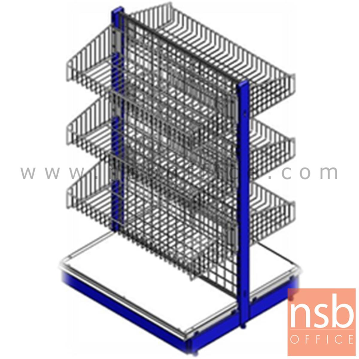 D06A024:ชั้นวางสินค้าสองหน้าหลังตาข่ายแบบตะกร้า รุ่น BUNDABERG (บันดาเบิร์ก) ขนาด 90W ,100W ,120W*80D cm. แบบตัวตั้งและตัวต่อ