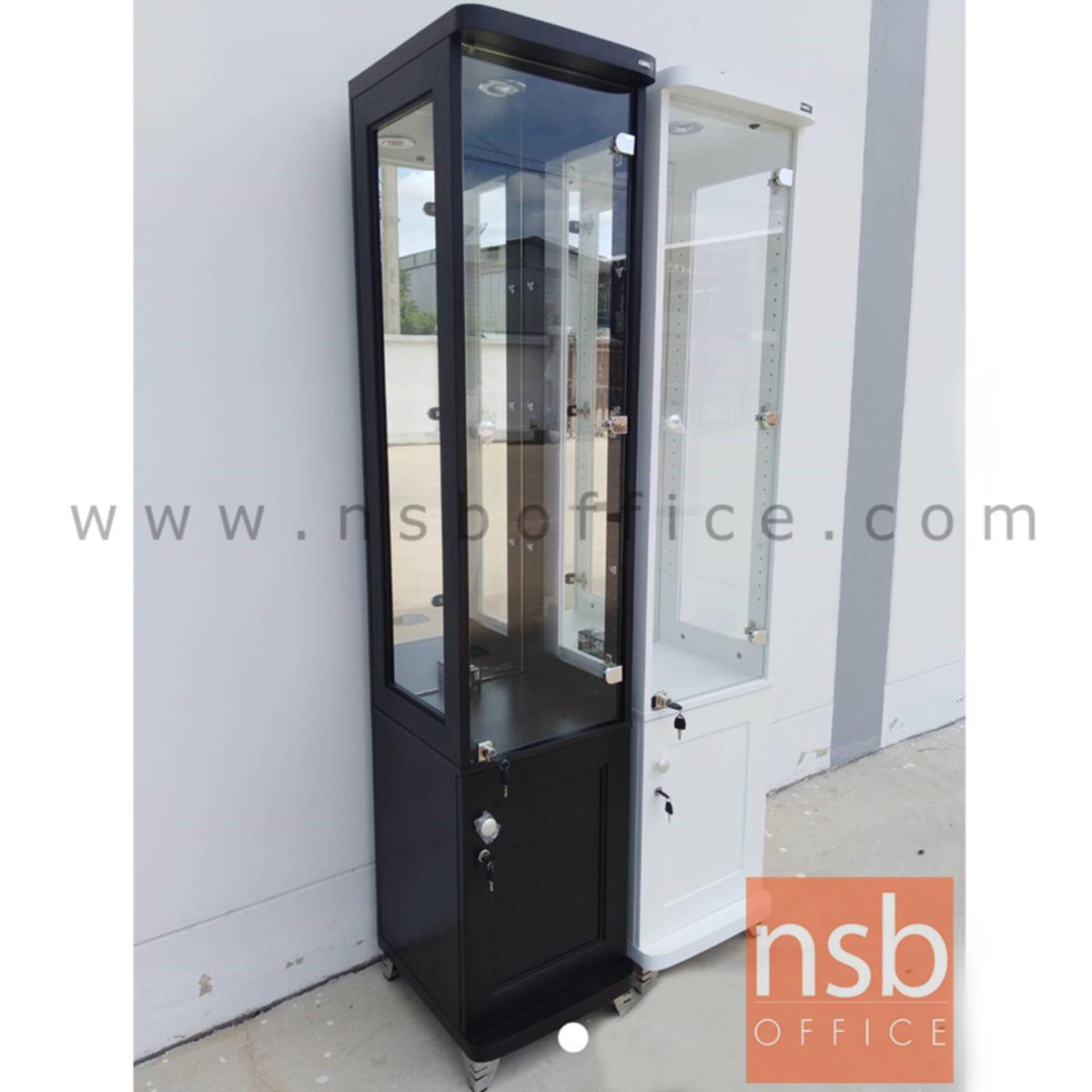 G06A030:ตู้โชว์กระจกดาวน์ไลท์ 1 บานเปิด ขนาด 40W*40D*190H cm.  รุ่น DW-6848-DS มีไฟในตัว (หลังกระจกเงา)