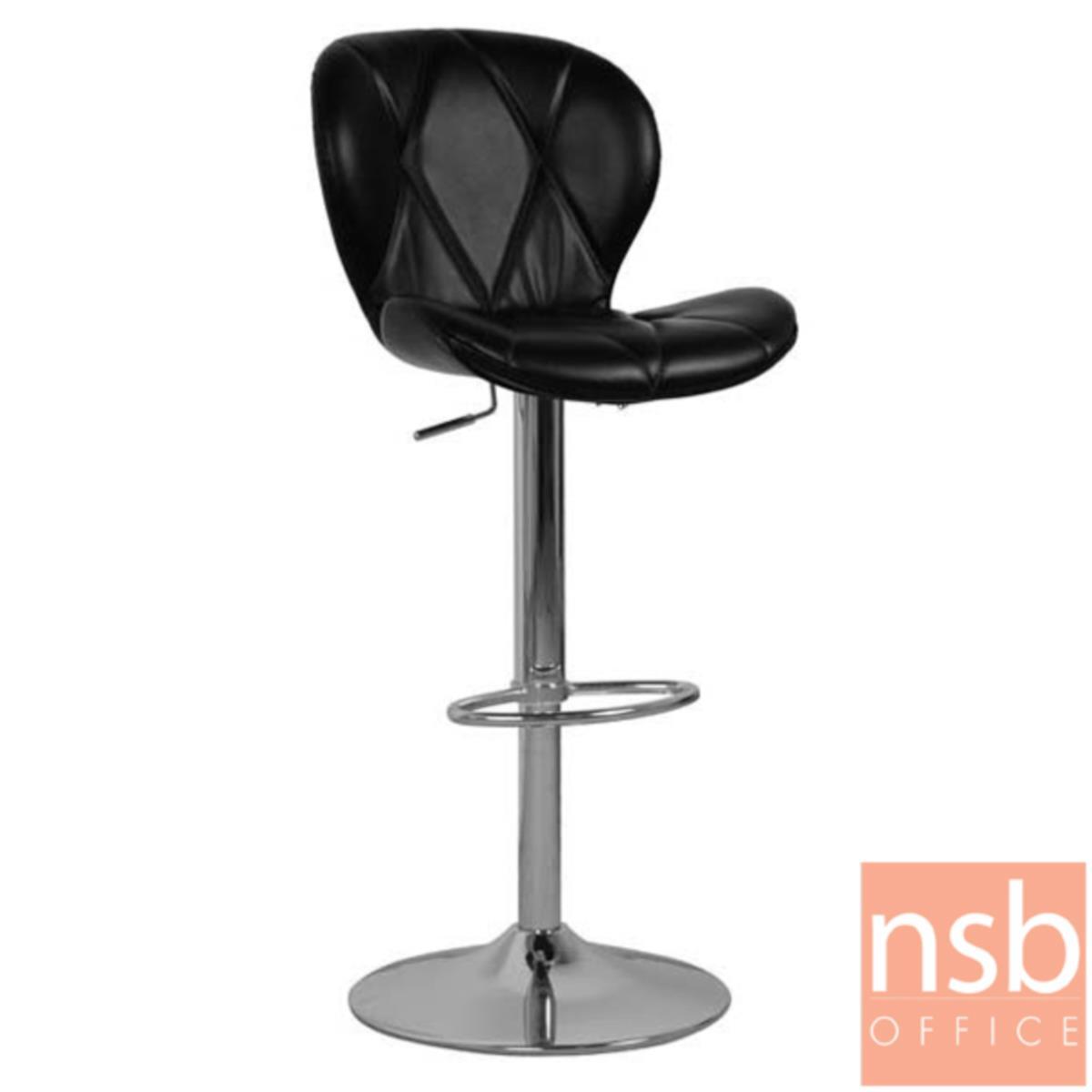 B18A063:เก้าอี้บาร์สูงหนังเงา รุ่น Maloney (มาโลนี) ขนาด 47W cm. โช๊คแก๊ส ขาโครเมี่ยมฐานจานกลม