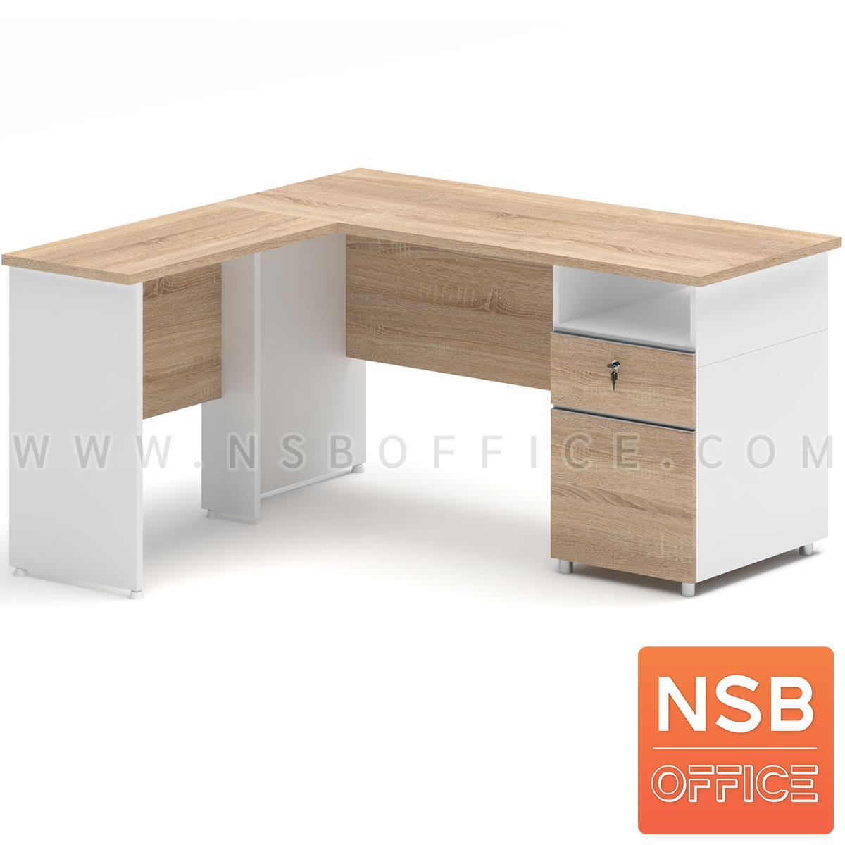 A21A016:โต๊ะทำงานตัวแอล 2 ลิ้นชัก รุ่น Milbert (มิลเบิร์ต) ขนาด 150W cm. เมลามีน สีเนเจอร์ทีค-ขาว