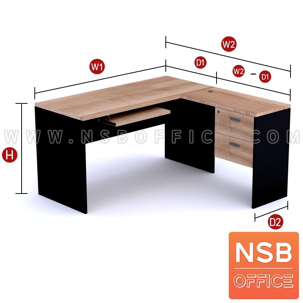 โต๊ะทำงานตัวแอล 2 ลิ้นชัก รุ่น  Genesis (เจนนิซิส) 150W*140D , 150W*160D cm.