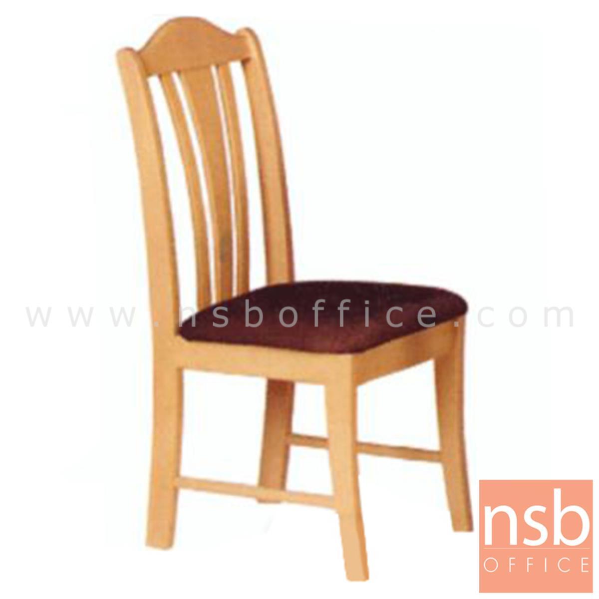 G14A041:เก้าอี้ไม้ยางพาราที่นั่งหุ้มหนังเทียม รุ่น Morris (มอร์ริส) ขาไม้