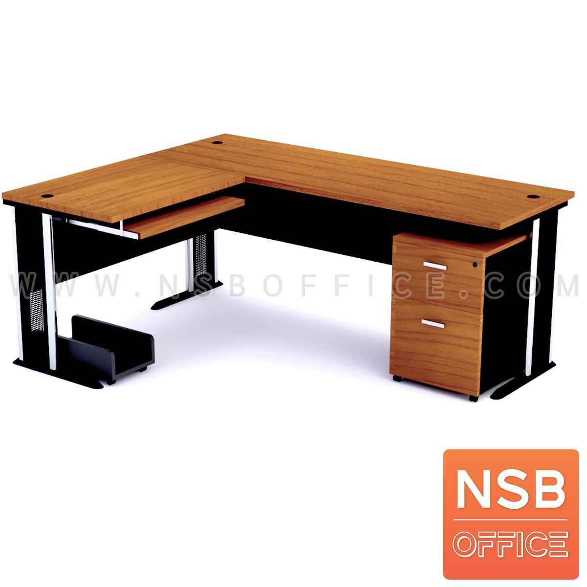 A13A029:โต๊ะผู้บริหารตัวแอล   ขนาด 180W1*180W2 cm. ขาเหล็กโครเมี่ยมดำ สีเชอร์รี่ดำ