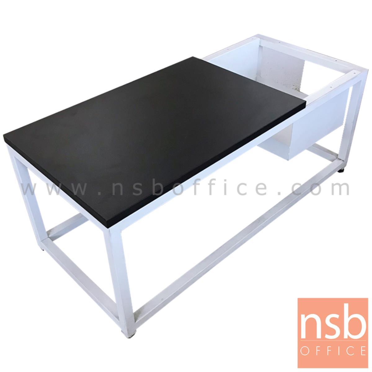 L01A141:โต๊ะเหลี่ยมโมเดิร์นไม้  ขนาด 90W*38H cm. ขาเหล็ก